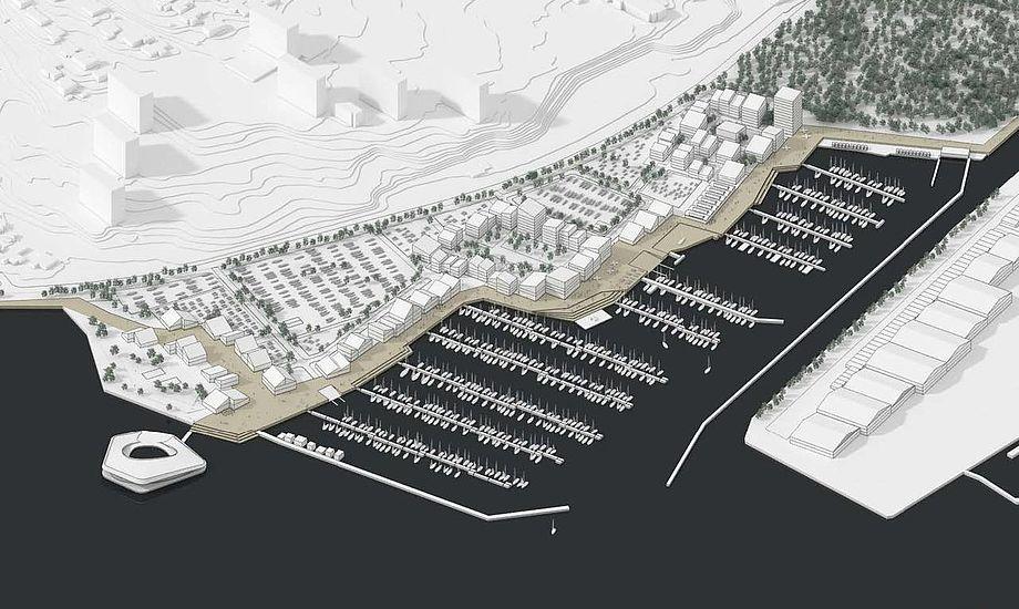 Det forventes, at lystbådehavnen og de første boliger kan tages i brug i 2020. Tegning: Cobe