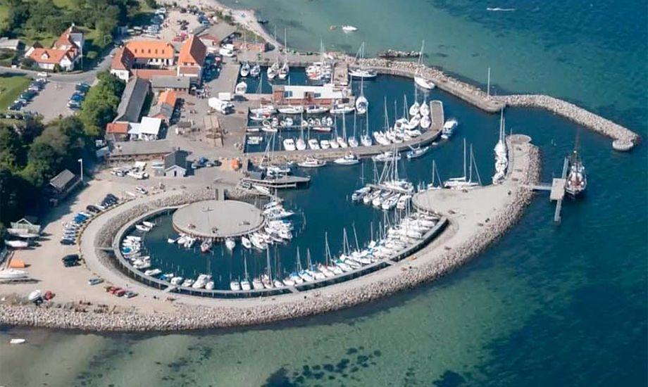 Luftfoto af de to havne i Lundeborg. Foto: youtube