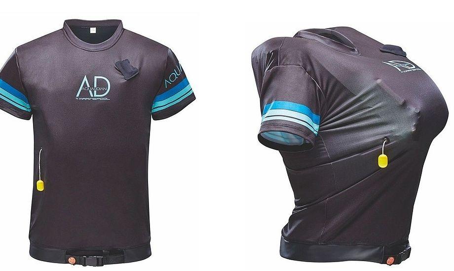 Til højre i billedet er Aquardian Pro Shirt pustet op. Med en opdrift på 50 Newton og  ISO-certificering ISO 12402-5 lever den op til at være en godkendt svømmevest. PR-foto