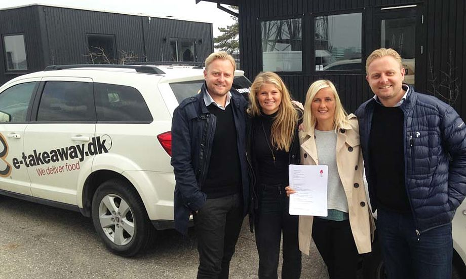 Fra venstre: Direktør i e-takeaway Thomas Cort, Katja Salskov-Iversen, Jena Mai Hansen og Ulrich Cort. PR-foto