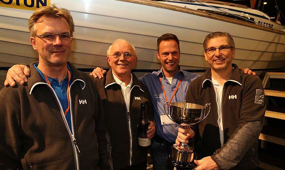 Vinderne af Folkebådenes rangliste 2012: Fra venstre: Heines Nielsen, Ole Mathiesen, Søren Nielsen (reserve) og Karsten Koch. Foto: Troels Lykke