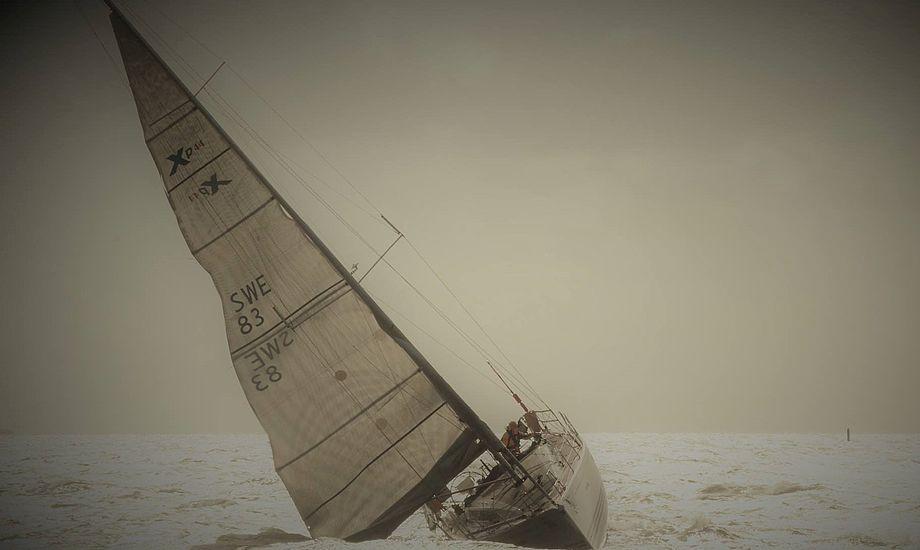 Den svenske XP-44 Yacht tonser her over startlinjen i Svendborg lørdag formiddag i medstrøm. Få timer efter måtte Silverrudder-sejler Rikard Roth reddes i land af Marinehjemmeværnet efter grundstødning ved Horne Land. Foto: Søren Stidsholt Nielsen, Søsiden, Fyns Amts Avis