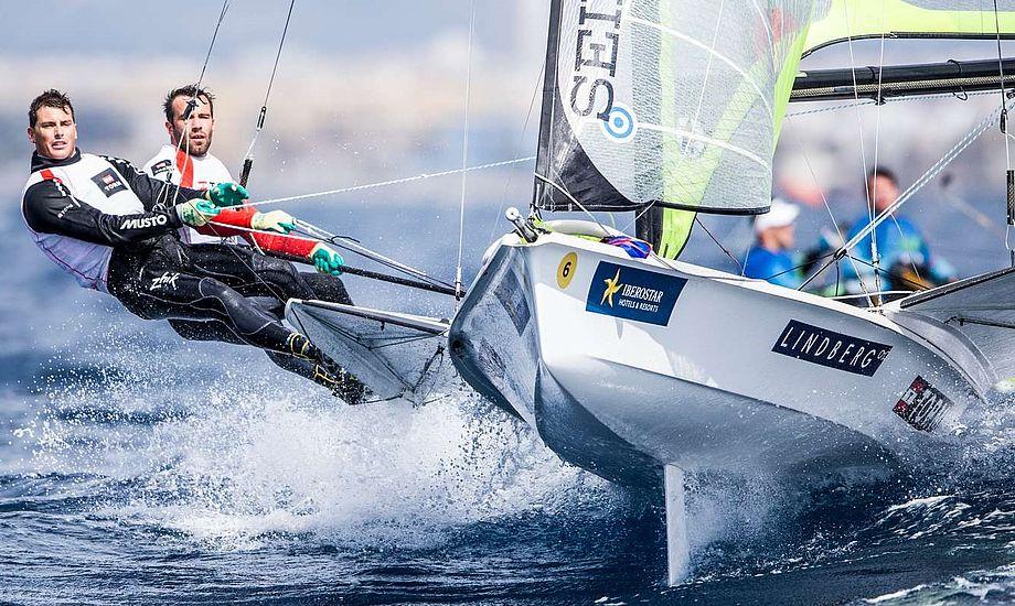 Warrer og CP er i øjeblikket bedste, danske båd i Hyéres. Foto: Dansk Sejlunion