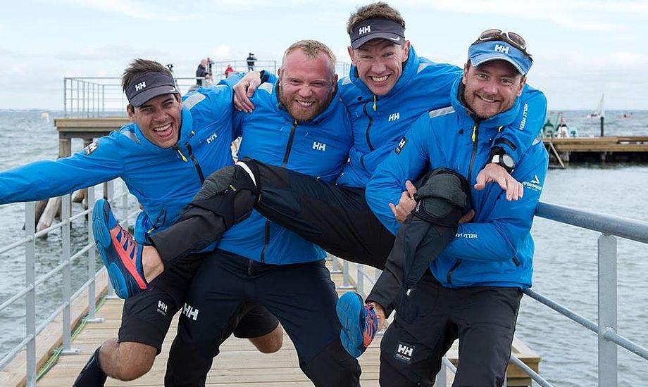 Kris Houman (skipper), Rasmus Melsen, Søren Steen og Rasmus Damsgaard vandt Sejlportsligaen. Foto: Flemming Ø. Pedersen/sejlsportsligaen