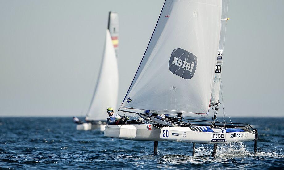 Lin Cenholt og Christian Peter Lübeck fik ikke sat spileren på Aarhusbugten søndag. Foto: Sailing Energy