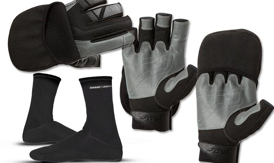 Fleksible handsker, og sokker til at trække over våddragtens gummifødder, er nogle af forårets nyheder fra Magic Marine. Foto: Magic Marine