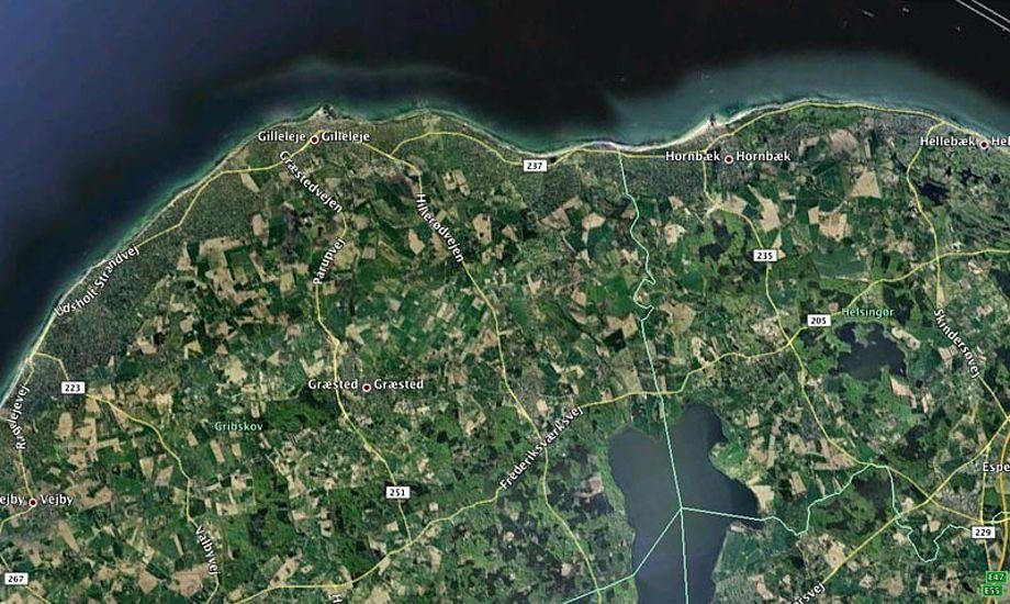 Hele Sjællands nordkyst er mærket af stormen. Foto: Google Maps