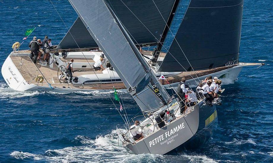 Vertical Smile, dansk Swan 60 med skipper Peter Lerbrandt, går her foran på bagbord halse. Foto: Carlo Borlengi/Rolex