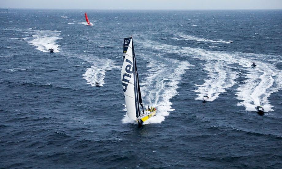 Brunel og Mapfre ligger nu forrest i den samlede stilling. Mapfre er dog helt i top grundet bedre resultater i inport-sejladserne. Foto: Volvo Ocean Race