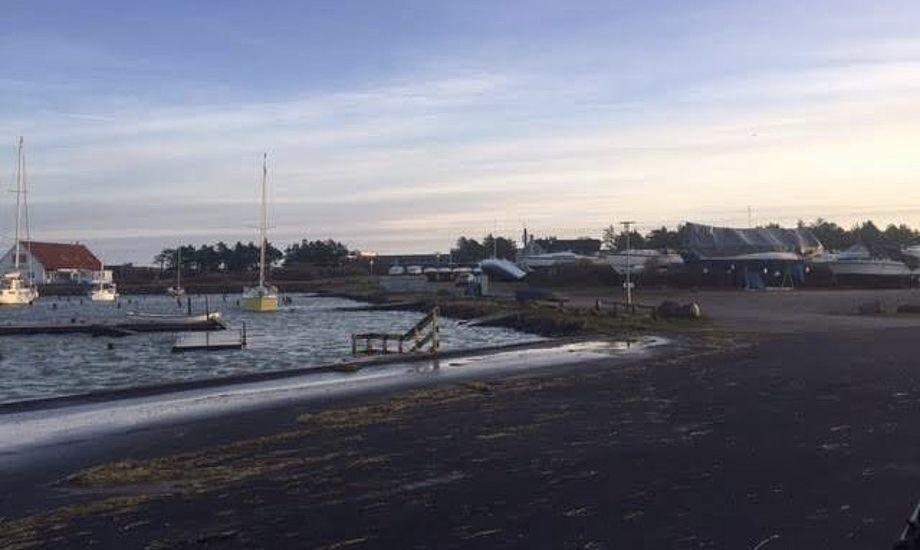 Høj vandstand og væltede både, som det ses i midten af billedet, blev konsekvenserne af Urd i Rønnebjerg, Limfjorden. Foto: Jørn Nielsen