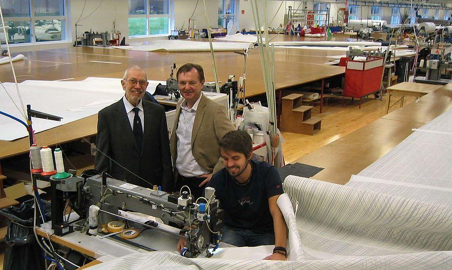 Paul Elvstrøm, tv., står her med Claus Olsen, tidligere direktør, der nu sidder i Elvstrøm Sails bestyrelse.