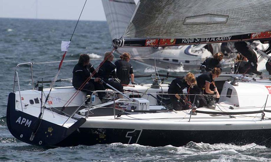 Dorte O. Jensen og mandskab om lørdagen i Big Boat i KDYs Farr 40. Foto: Troels Lykke