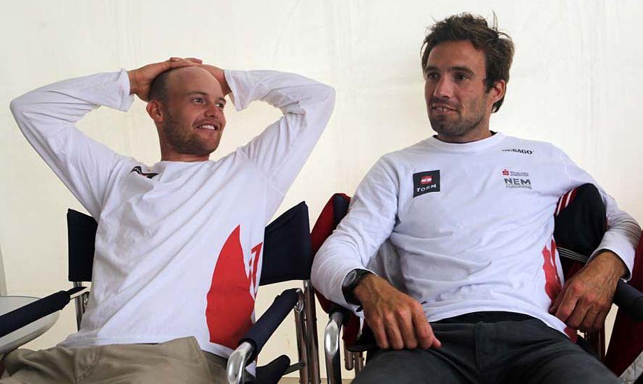 Allan Nørregaard, Nacra 17-sejler og Jonas Warrer, ser her under VM i 49er i september. Foto: Troels Lykke