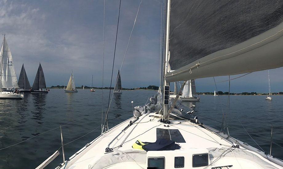 Sådan så det ud fra Henrik Jørgensens X 4.3, da starten skulle gå på Samsø i sidste weekend. Foto: Henrik Jørgensen