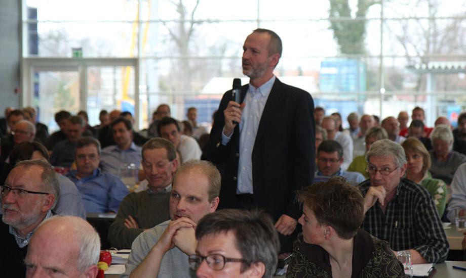 Christian Lerche tog ordet og var visionær og leverede blandt andet en undskyldning til DS bestyrelse, som forinden i mails til klubber var blevet beskyldt for ikke at tilstrækkelige. Foto: Troels Lykke