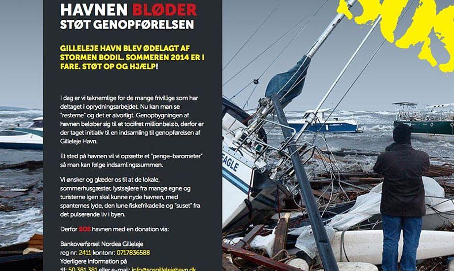 Gilleleje Havn har startet en indsamling, for at få råd til at genopbygge havnen. Foto. sosgilleleje.dk