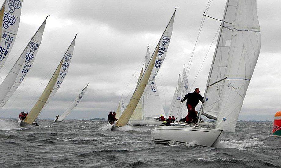 Fra vindstille til 13 m/s. Deltagerne i DM for BB10 M kom ikke til at kede sig. Foto: Bogense sejlklub