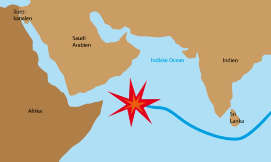 De danske gidsler blev kidnappet af somaliske pirater d. 24 februar. Grafik: Bjerregaard