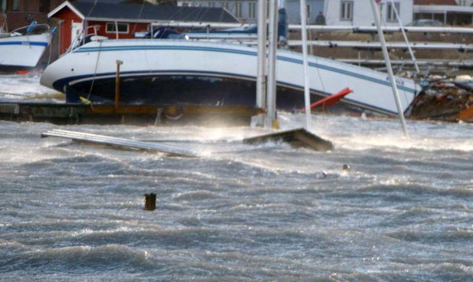 Lige nu er der kun bådejerne, der kommer til at betale regningen for deres ødelagte havn. Her ses kaos i Gilleleje Havn.
