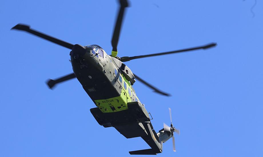 En redningshelikopter bragte den nødstedte til Odense Universitetshospital, hvor manden senere blev erklæret død. Arkivfoto: Troels Lykke