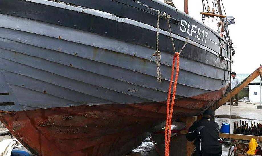 Turen mod stenmolen i Spodsbjerg gav omfattende skader på det 134-årige fartøj. Foto: Søren Stidsholt Nielsen