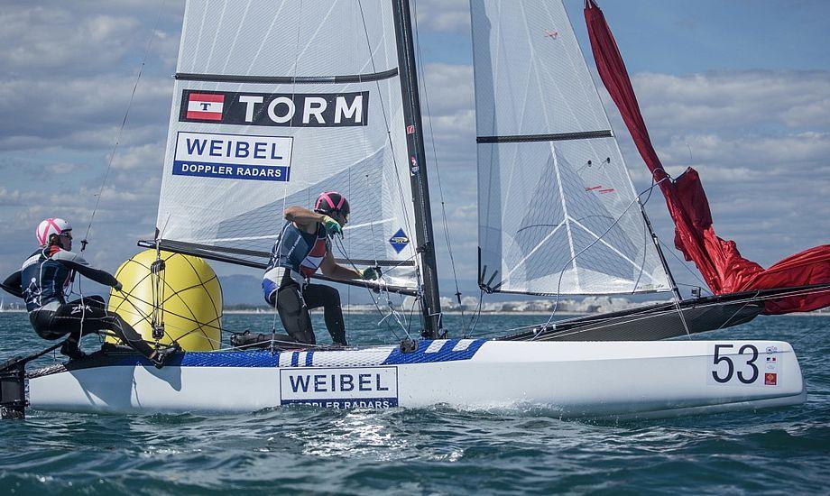 Lin Cenholt og Christian Peter Lübeck fortsatte de gode takter fra testeventen i Aarhus, hvor de vandt guld. Foto: Nacra 17 Class