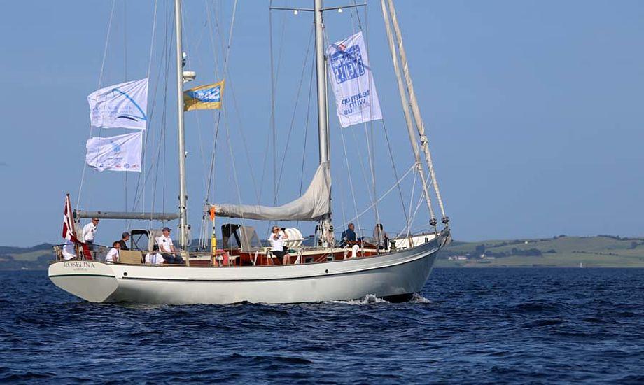 S/Y Rosalina var her VIP-båd under 49er-EM i Aarhus i juli. Sidste år var båden det ved OL i Weymouth. Foto: Troels Lykke