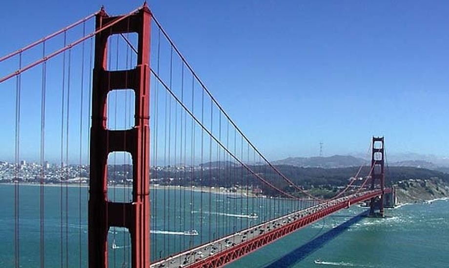 Den berømte Golden Gate Bridge i San Francisco.