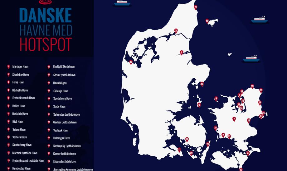 Oversigt over danske havne med Wi-Fi hotspot. Klik for større billede. Grafik: Bredbåndsluppen.dk
