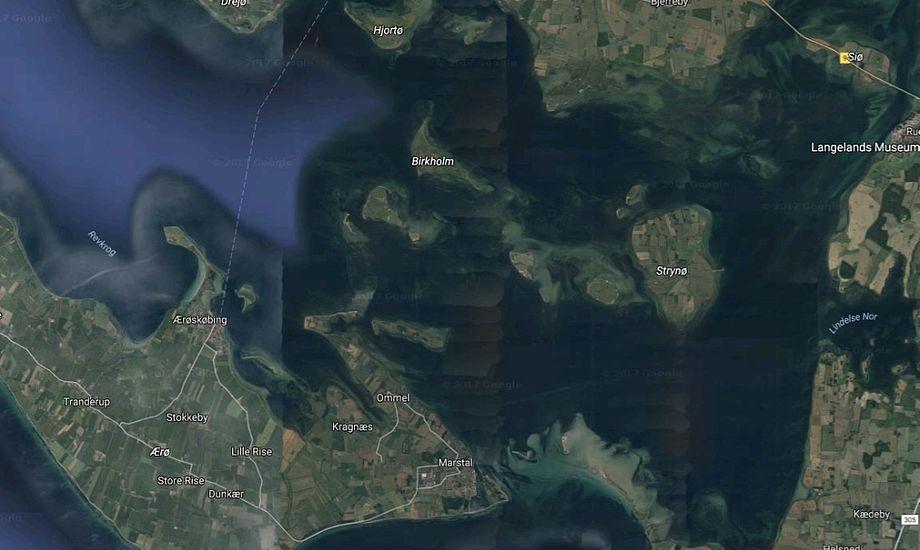 Et tysk ægtepar kom i problemer nær Birkholm i Det Sydfynske Øhav. Grafik: Google Maps