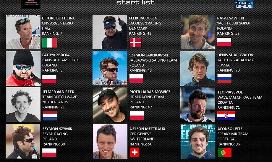 Startlisten til 3. tour stop i Match Racing Super League. 12 besætninger fra 8 forskellige lande stiller op. Foto: Polishmatch.pl.