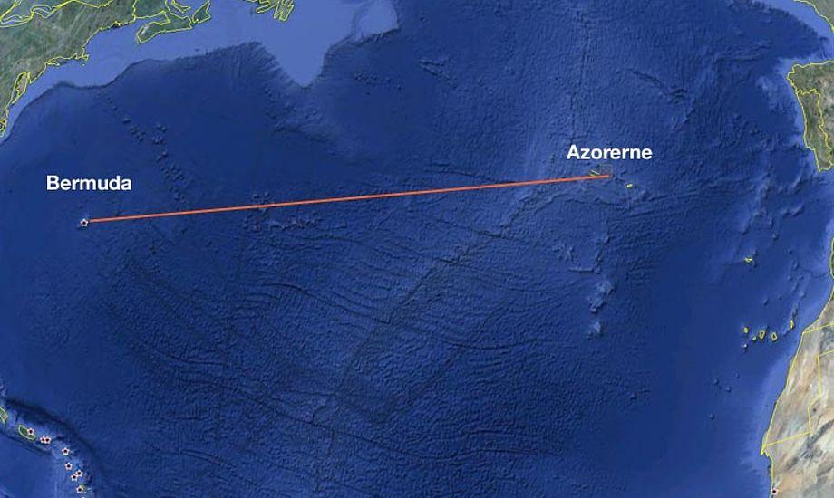 Uheldet skete ca. 575 sømil øst for Bermuda. Foto: Google earth