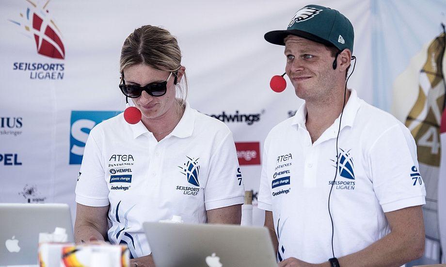 Susanne Salminen og Jonathan Bay på plads som livekommentatorer ved ligastævnet i Aarhus, sidst i august. Foto: Camilla Hylleberg