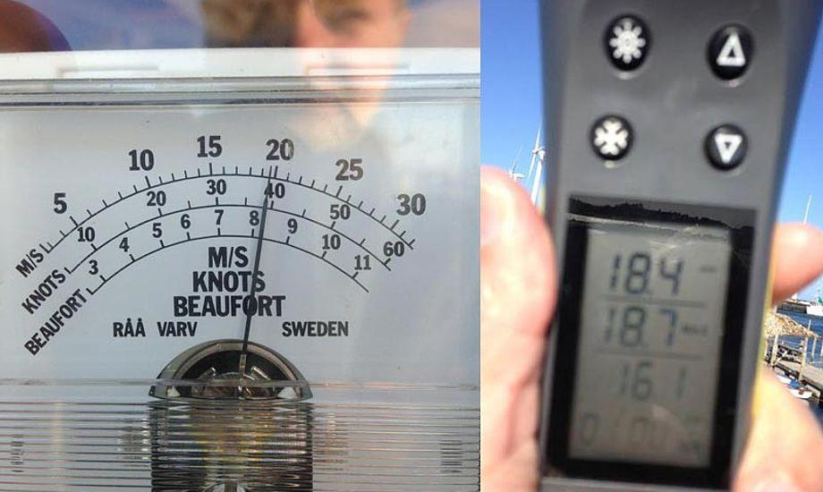 Nogle af weekendens vindmålinger i Bønnerup. Foto: Christian Lerche