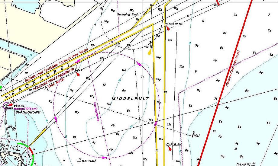 Den nye rute i Københavns havn skal sørge for at de store skibe ved hvor, at fritidssejlerne befinder sig.