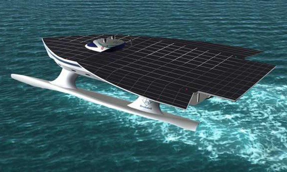 50 mio. kroner koster denne futuristiske katamran. Foto: Planetsolar.