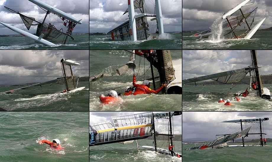 Det er sjældent, at der ikke er et par gode stunts til America's Cup. Foto. americascup.com