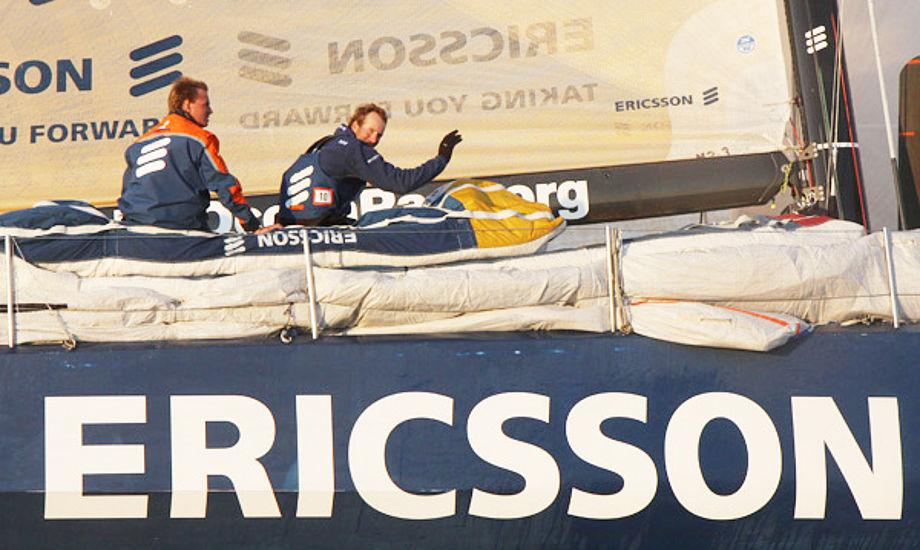 Jens Dolmer ses her i Øresund på Ericsson 3, der skulle have vundet etapen mod Stockholm, men en fok sad fast i masten før mål og så kom Puma og tog sejren. Foto: Troels Lykke
