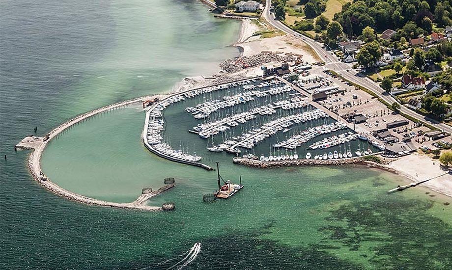 Der er få pladser tilbage på land i Vedbæk. Havnen er ved at blive renoveret. Foto: vedbaek-havn.dk