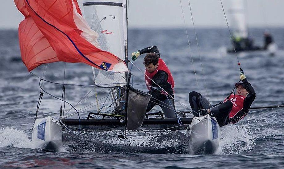 Lin Cenholt og gast CP Lübeck sluttede 7'er til årets første World Cup-stævne i Miami i januar. Foto: Sailing Energy
