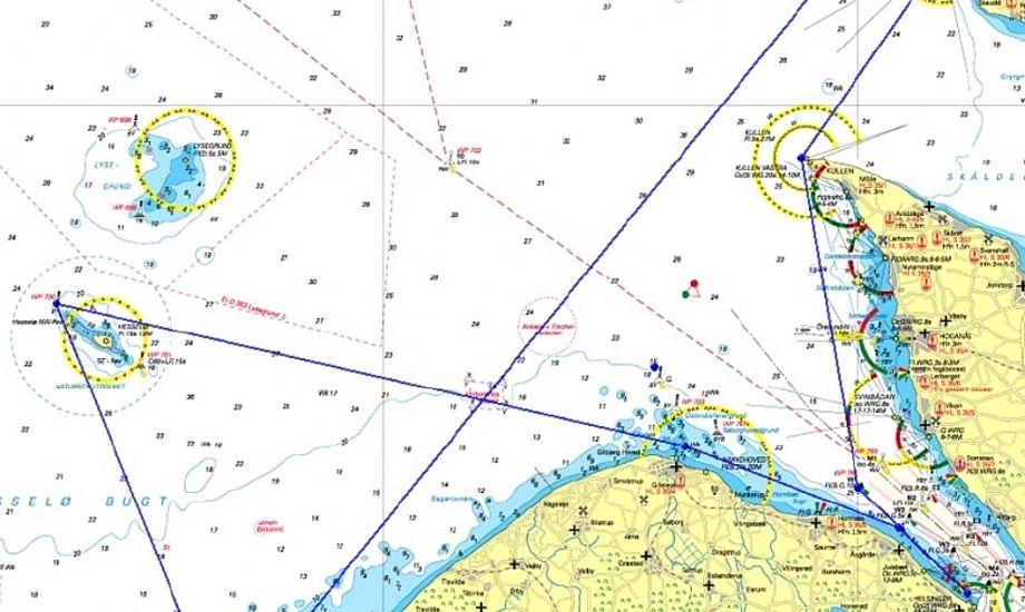 Det er Hallands Väderö til højre i billedet, som vækker bekymring hos visse sejlere.