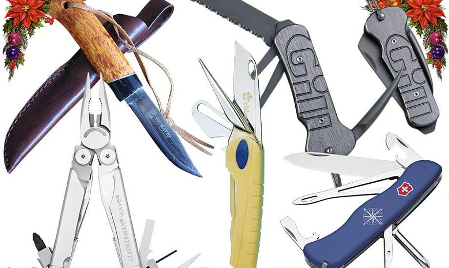 Fra enkel sejlerkniv over multitool til håndbygget kniv. Der er nok at vælge imellem.
