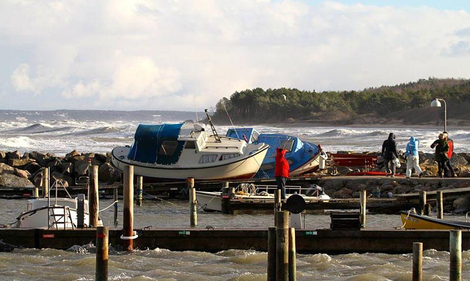 Flere havne blev ramt hårdt af stormen Bodil. Foto: Stig Munchaus