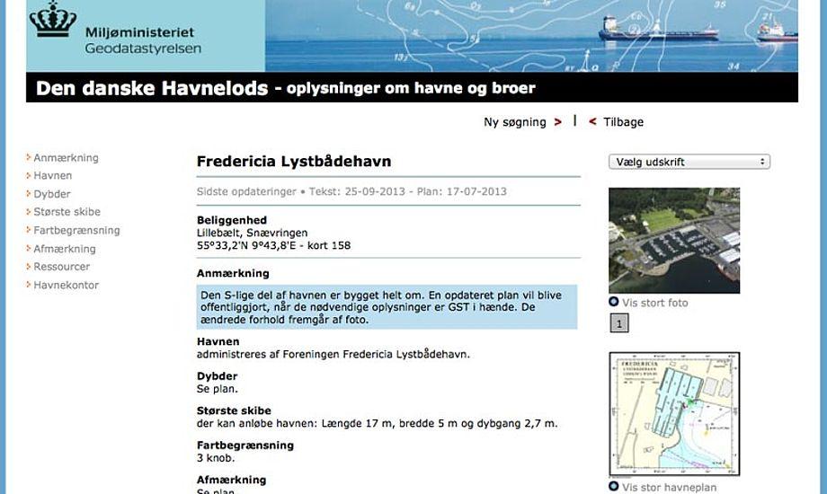 Oplysninger om havneforhold kommer bagerst i køen. Billede fra www.havnelods.dk