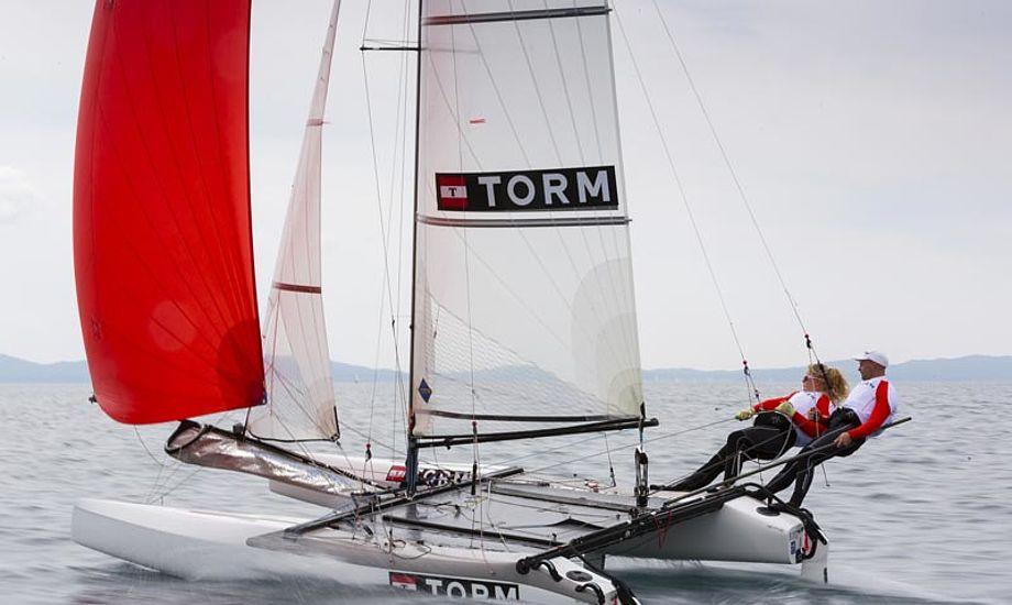 Allan Nørregaard og Line Just fik en 2.plads i Kiel. Foto: sejlsport.dk