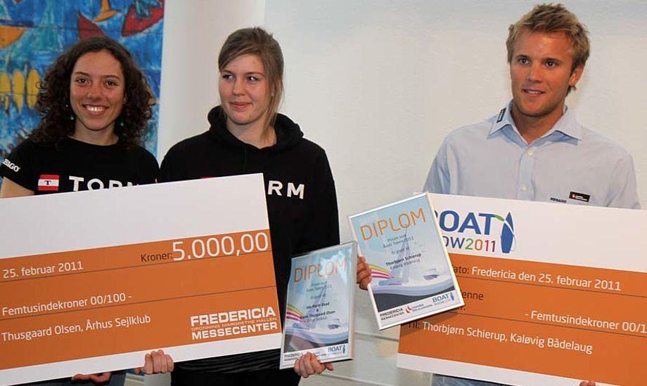 Fra venstre: Årets Talenter 2010: Ida Marie Baad Nielsen og Marie Thusgaard Olsen og Thorbjørn Schierup. Foto: Troels Lykke