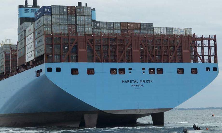 Omkring et halvt hundrede større og mindre lystfartøjer skulle lige ud og runde verdens største skib ankerliggende i Marstal Bugt. Foto: Søren Stidsholt Nielsen, Fyns Amts Avis