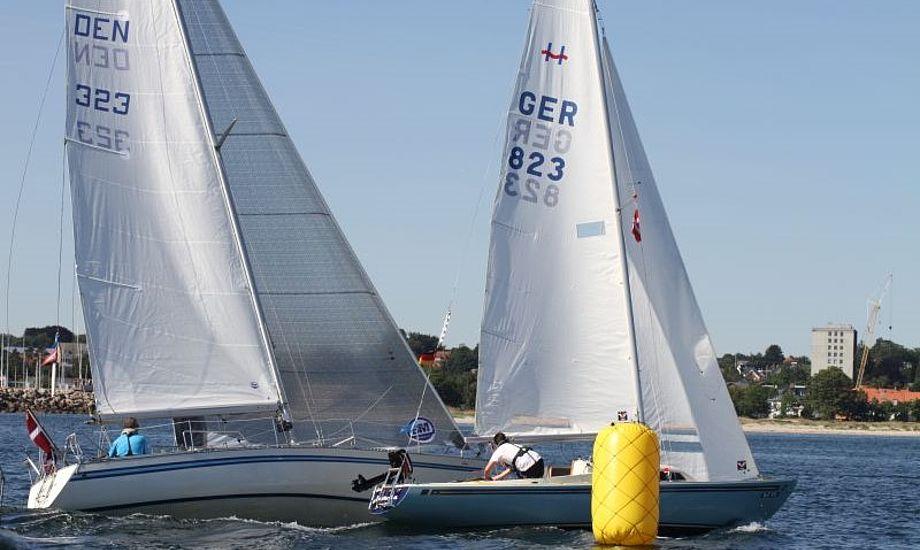 Jan Møller starter her i Helsingør. En H-båd, som ses her, udgik ved Vordingborg med en knækket mast. Foto: Helsingør Sejlklub