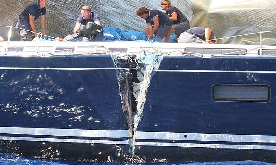 Det er sjældent at skaden bliver helt så slem som til Maxi Yacht Rolex Cup i 2011. Foto: Ingrid Abery