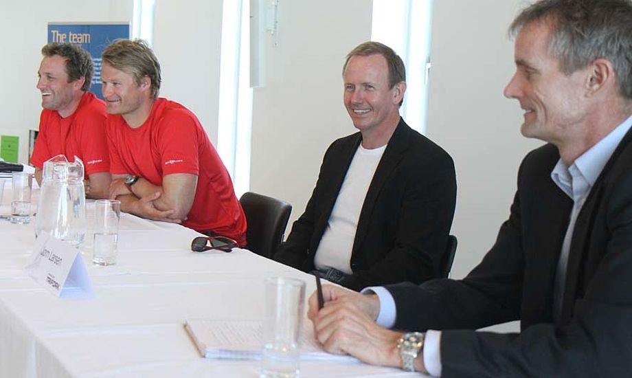 Fra venstre: Jes Gram-Hansen, Rasmus Køstner, sponsor Jørn Larsen fra Trifork og Ole Egeblad. Foto: Troels Lykke